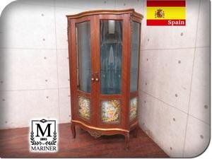 ■MARINER/マリネール■スペイン最高級■装飾金具■鍵付き■猫脚■2段キャビネット■飾り棚■125万■sww6511f