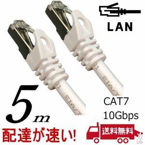 LANケーブル 5m Cat7 高速転送10Gbps/伝送帯域600Mhz RJ45コネクタツメ折れ防止 ノイズ対策シールドケーブル 7T05□■