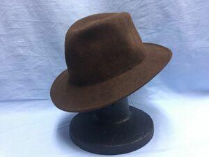 ソルバッティ SORBATTI ITALY製 レトロ エレガント ダンディ ソフト帽 中折れ帽 メンズ ウール100% L 茶色