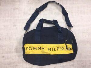 トミーヒルフィガー TOMMY HILFIGER アメカジ スポーツ アウトドア バイカラー ロゴプリント 2way ショルダー ボストンバッグ 男女兼用 紺