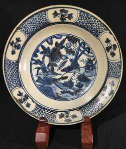 古い中国 明末 呉須 染付 花鳥図 大皿 28cm avm