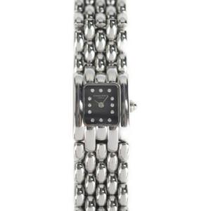 美品 Chaumet ショーメ ケイシス 腕時計 ステンレススチール ダイヤモンド シルバー ブラック文字盤 12Pダイヤ【本物保証】