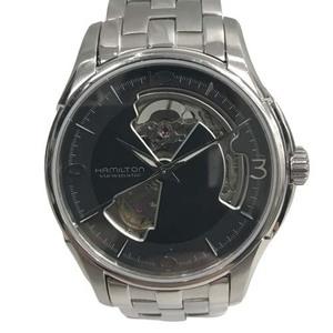 泉店21-323 ハミルトン H325650 ビューマチック ジャズマスター オープンハート 腕時計 黒 ブラック 裏スケ 自動巻き 3針 メンズ