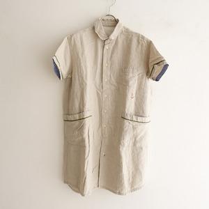 ■快晴堂 *イカリ刺繍丸襟チュニックシャツ*2ナチュラルベージュブラウスロング半袖ショートスリーブ0821【52H12】