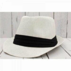 ストローハット 中折れ帽子 シンプル ペーパー石目編み 麦わら帽子 58cm WTトレンド FC39-7