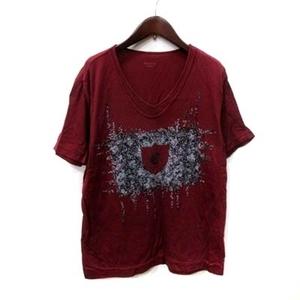 エポカ ウォモ EPOCA UOMO Tシャツ カットソー フェイクレイヤード 半袖 スパンコール 50 赤 ボルドー /YI メンズ