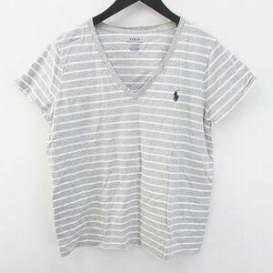 ポロ ラルフローレン POLO RALPH LAUREN ボーダー 半袖 Tシャツ カットソー Vネック L 灰系 グレー ロゴ 刺繍 綿 コットン メンズ