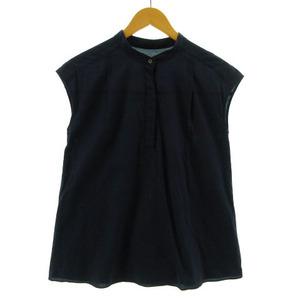 デミルクス ビームス Demi-Luxe BEAMS シャツ ノースリーブ ノーカラー プルオーバーコットン ネイビー 紺 36 レディース
