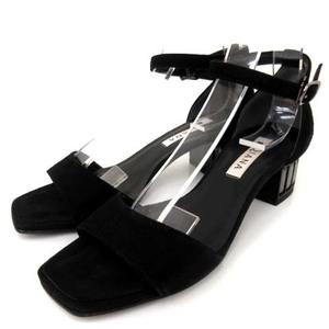 ダイアナ DIANA パンプス オープントゥ ローヒール スエード ビジュー 黒 ブラック 22.5cm 小さいサイズ 靴 シューズ FK レディース