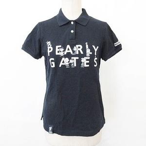 パーリーゲイツ PEARLY GATES ポロシャツ ゴルフ ウエア 半袖 スヌーピー キャラクター 刺繍 ワッペン 2020年 コットン 綿 紺 ネイビー 0