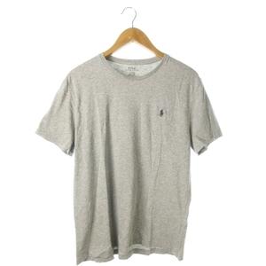 ポロ ラルフローレン POLO RALPH LAUREN Tシャツ カットソー ラウンドネック 半袖 ロゴ刺繍 M グレー /AO8 ☆ メンズ