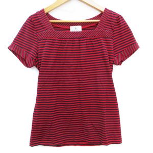クミキョク 組曲 KUMIKYOKU Tシャツ カットソー 半袖 スクエアネック ボーダー柄 2 赤 紺 レッド ネイビー /FF10 レディース