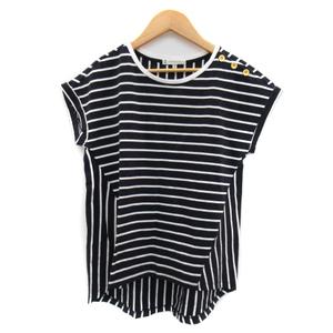 クミキョク 組曲 KUMIKYOKU Tシャツ カットソー 半袖 ラウンドネック ボーダー柄 2 紺 ネイビー /YK34 レディース