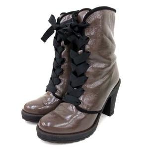 アンテプリマ ANTEPRIMA 美品 ショートブーツ ハイヒール レースアップ エナメル 茶 ブラウン L 24.5cm 靴 シューズ FK レディース