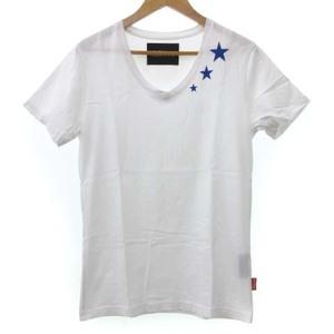 daboro ダボロ Tシャツ カットソー 半袖 Vネック 星 刺繍 ロゴプリント 白 ホワイト 2 S相当 FK メンズ