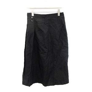 マーガレットハウエル MARGARET HOWELL フレアスカート ひざ丈 麻 リネン 1 S 黒 ブラック /SI4 レディース