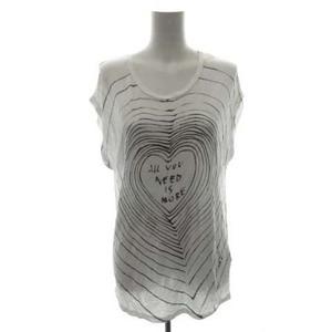 ディーゼル DIESEL カットソー Tシャツ 半袖 フレンチスリーブ ラメ ハート ALL YOU NEED IS MORE プルオーバー XXS 白 ホワイト /PJ ■EC