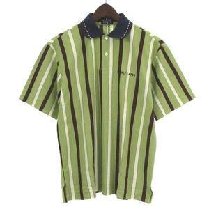 パーリーゲイツ PEARLY GATES タグ付き ポロシャツ 半袖 鹿の子 ロゴ 刺繍 コットン ストライプ 緑 グリーン 1 トップス ECR8 メンズ