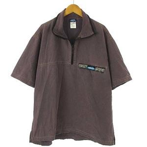 カブー KAVU USA製 ダック生地 スロー シャツ プルオーバー ハーフジップ コットン 半袖 パープル 紫 L メンズ