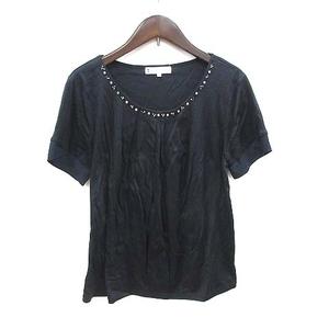 クミキョク 組曲 KUMIKYOKU Tシャツ カットソー 半袖 切替 Uネック タック ビジュー付き 3 黒 ブラック /CT レディース
