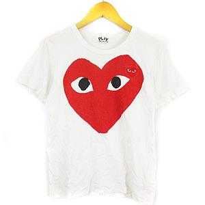 プレイコムデギャルソン PLAY COMME des GARCONS Tシャツ 半袖 カットソー ハート プリント ワッペン 白 S ■IBS68