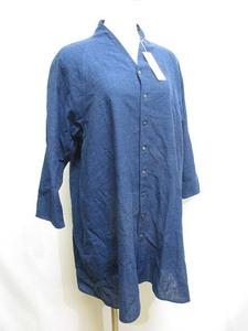 未使用品 ヨーガンレール JURGEN LEHL ババグーリ Babaghuri コットン シャツ ワンピース M 紺 ネイビー ブラウス 七分袖 綿100% 日本製