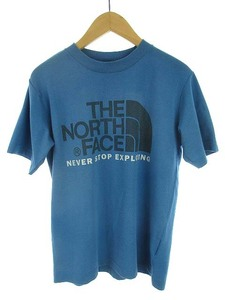 ザノースフェイス THE NORTH FACE トップス Tシャツ TEK TEE ロゴ プリント クルーネック NTW32532 丸首 半袖 ブルー系 M レディース