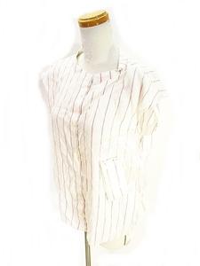 未使用品 クミキョク 組曲 KUMIKYOKU ノースリーブ シャツ ストライプ 麻混 白 ホワイト ピンク S3 レディース