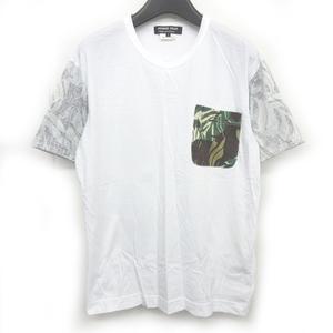 コムデギャルソンオムドゥ COMME des GARCONS HOMME DEUX ポケットTシャツ カットソー 切替 迷彩 カモフラ柄 半袖 白 ホワイト 系 S AD2012
