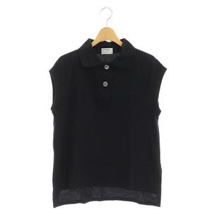 フレッドペリー FRED PERRY × マーガレットハウエル MARGARET HOWELL ノースリーブポロシャツ 8 黒 ブラック /MY ■OS レディース