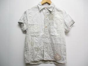 キャピタル kapital パッチワーク コットン シャツ カットソー ブラウス 1 白 ホワイト 半袖 マルチボタン 日本製 レディース