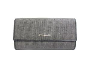 ブルガリ BVLGARI ウィークエンド Wホック 2つ折り 長財布 グレー系 32589 ウォレット PVC レザー