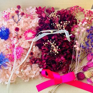 大容量サイズ花材詰合 紫陽花 かすみ草 ミニかすみ草 リンフラワー ライラック 花材 ドライフラワー プリザーブドフラワー