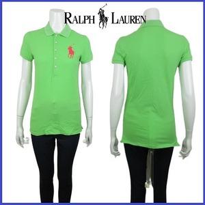 国内正規品 ラルフ ローレン Ralph Lauren ビッグ ポニーロゴ 刺繍 ポロシャツ カットソー トップス ストレッチ スポーツ S グリーン系