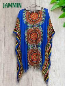 アフリカ民族衣装ダシキ柄フリンジポンチョ★フェス★衣装★