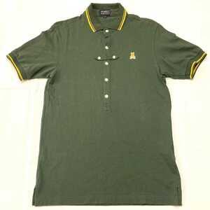 ★PEARLYGATES パーリーゲイツ 半袖 ポロシャツ ゴルフ ウエア 鹿の子 メンズ size4 (M) 深緑 グリーン ロゴワッペン カーキ