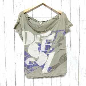 F2436UL◇DIESEL ディーゼル◇サイズS Tシャツ カットソー カーキ レディース 綿100% プリント ラメ カジュアル アメカジ 古着