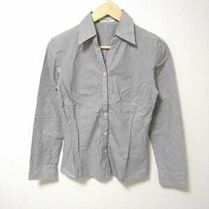 F2507L◇KUMIKYOKU クミキョク◇サイズ2 M位 組曲 長袖シャツ シャツ ブラウス グレー ストライプ柄 レディース 綿100% スキッパーシャツ