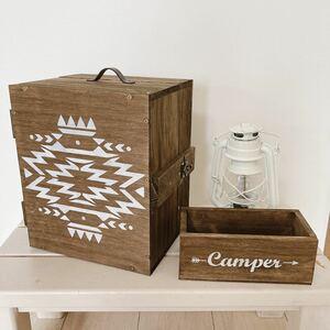 男前スパイスボックス オルテガ柄仕様 調味料 収納 木製 キャンプギア
