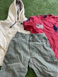 Ralph Lauren  ラルフローレン BURBERRY バーバリー キッズ 男の子 140cm相当 パーカー パンツ Tシャツ 3点まとめ #M172