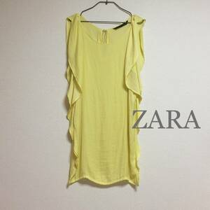 美品 匿名配送 ZARA シルクライクワンピース レモンイエロー 光沢感 フリル ドレス 普段着 結婚式 デート チュニック 黄色