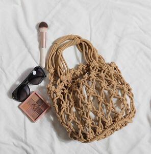 バケットサマーバッグ カゴバッグ 編み かごバッグ トートバッグ ブラウン ベージュ メッシュ ネット ハンドバッグ ショルダー