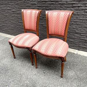 クラシック ヨーロッパアンティーク調 ダイニングチェア2脚セット レッドブラウン 高級チェア 食堂椅子