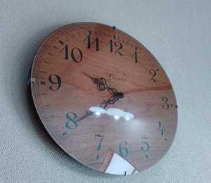 シャンブル chamble 木製 壁掛け時計 アールクロック ウッド モダン 日本製 ウォールクロック ウニコ 天然木 楕円 中古 送料無料 即決