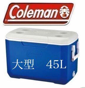 値下げ!コールマン クーラーボックス 未使用品 ブルー 青 ハンドル付き 持ち手 大型 ドリンクホルダー 45L 水抜き 水栓