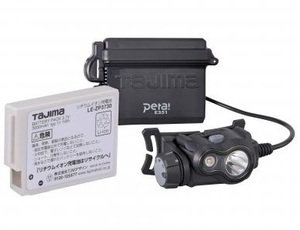 タジマ ペタLEDヘッドライトE351セット ブラック LE-E351-SPBK 充電池付スターターセット 上下可動ヘッド TJMデザイン TAJIMA 265340