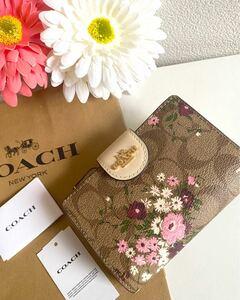 コーチCOACH最新作二つ折り財布 花柄フラワー×シグネチャー フローラル プリント新品未使用 ギフトプレゼント贈り物にも付属品付