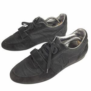 【ルイヴィトン】本物 LOUIS VUITTON 靴 26cm 黒色系 LVロゴ スニーカー カジュアルシューズ スエード 男性用 メンズ イタリア製 7