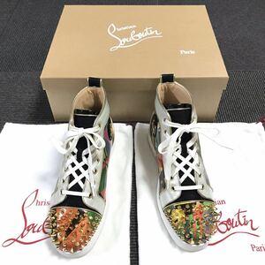 【ルブタン】本物 Louboutin 靴 24.5cm スパイク ハイカットシューズ スタッズ スニーカー カジュアル レザー メンズ イタリア製 39 1/2 箱