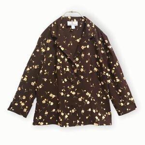 597【美品】組曲*KUMIKYOKU*七分袖 オープンカラーシャツ 小花柄 オンワード樫山 総柄 ブラウン レディース